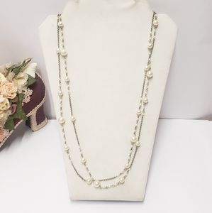Vintage Pearl & Chain Double strand necklace